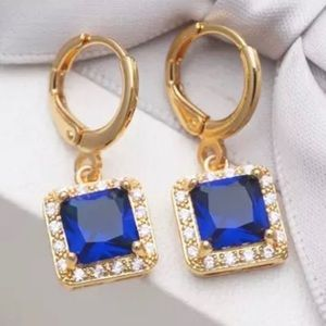 Luxury Dangle Earrings Blue Rhinestone